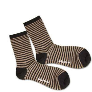 DillySocks Ponožky 'Sweet Lines'  zlatá / čierna / priehľadná
