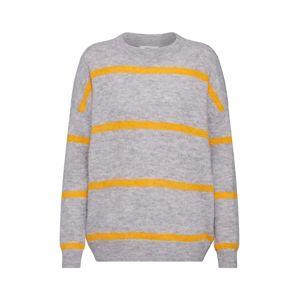 MOSS COPENHAGEN Sveter 'Femme Alpaca Stripe Pullover'  žlté / sivá