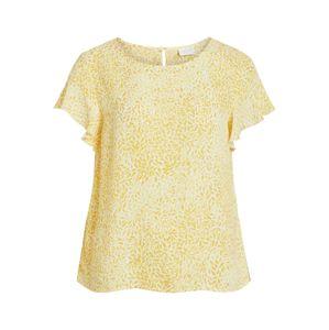 VILA Tričko  žlté / biela