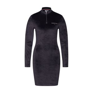 Tommy Jeans Šaty 'Mock Neck velvet Dress'  čierna
