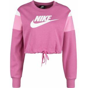 Nike Sportswear Mikina  tmavoružová / biela / svetloružová