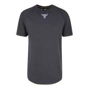 UNDER ARMOUR Funkčné tričko 'Project Rock Charged Cotton SS'  tmavosivá / čierna