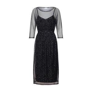 VILA Šaty 'VISTORRY 3/4 SLEEVE MIDI DRESS'  čierna / strieborná