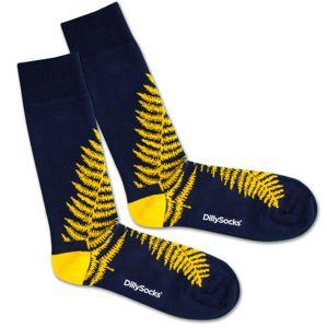 DillySocks Ponožky 'Blue Fern'  modré / žlté