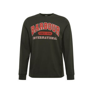 Barbour International Tričko 'Collegiate'  olivová / svetločervená
